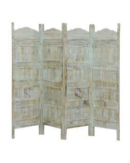 Paravan z mangového dreva, biela patina s nádychom tyrkysové, 200x3x180cm
