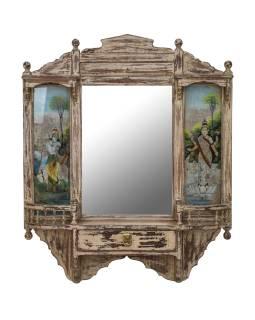 Staré zrkadlo v ráme z teakového dreva, Krišna a Lakšmí, 80x16x96cm