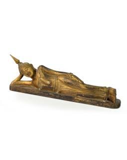 Narodeninový Budha, utorok, teak, zlatá patina, 26cm