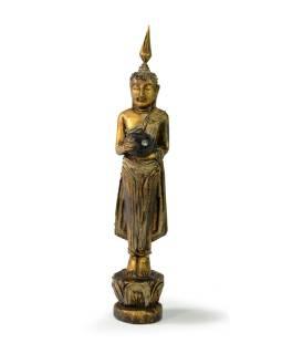 Narodeninový Budha, streda, teak, zlatá patina, 26cm