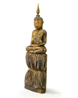 Narodeninový Budha, štvrtok, teak, zlatá patina, 26cm