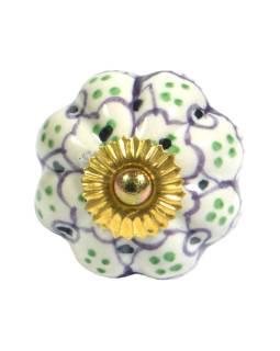 Maľované porcelánové madlo na šuplík, biele, svetlo fialová kvetina, zelené bodky