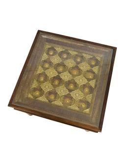 Konferenčný stolík z palisandrového dreva zdobený mosadzou, so sklom, 65x65x50cm