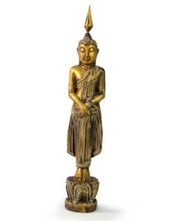 Narodeninový Budha, nedeľa, teak, zlatá patina, 26cm
