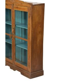 Presklená skrinka z teakového dreva, tyrkysová vnútri, 103x27x128cm