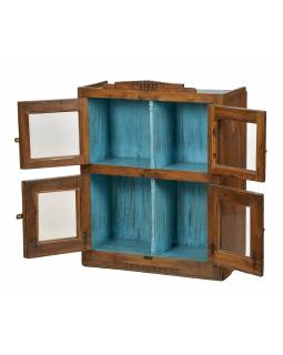 Presklená skrinka z teakového dreva, tyrkysová vnútri, 74x30x91cm