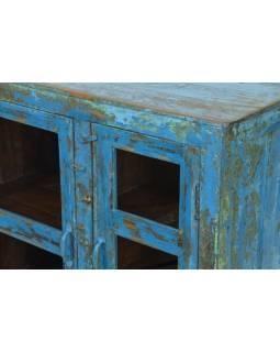 Presklená skrinka z teakového dreva, tyrkysová patina, 93x41x86cm