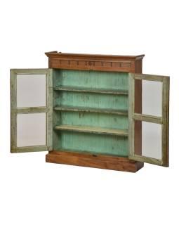 Presklená skrinka z teakového dreva, tyrkysová vnútri, 76x19x90cm
