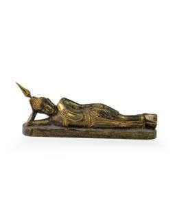 Narodeninový Budha, utorok, teak, čierno-zlatá patina, 26cm
