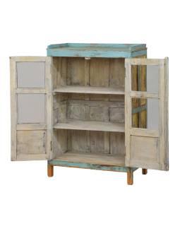 Presklená skrinka z teakového dreva, ručne maľovaná, 75x40x112cm