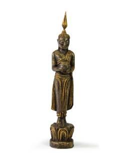 Narodeninový Budha, streda, teak, čierno-zlatá patina, 26cm