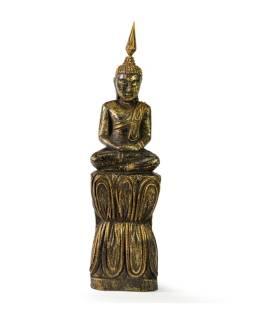 Narodeninový Budha, štvrtok, teak, čierno-zlatá patina, 26cm