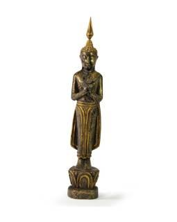 Narodeninový Budha, piatok, teak, čierno-zlatá patina, 26cm