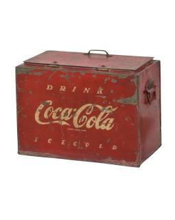 """Plechová chladnička, """"Coca Cola"""", 44x24x34cm, antik"""