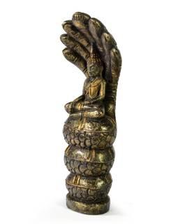 Narodeninový Budha, sobota, teak, čierno-zlatá patina, 26cm