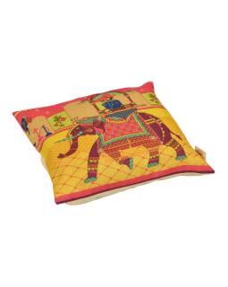 Povlak na vankúš, krémový, maharádža na slonovi, 40x40cm