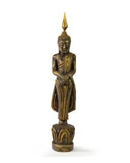 Narodeninový Budha, nedeľa, teak, čierno-zlatá patina, 26cm