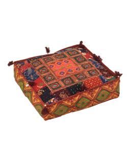 Meditačné vankúš, ručne vyšívaný patchwork, štvorec, 40x40x10cm