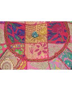 Taburet, Rajasthan, patchwork, Ari bohatá výšivka, ružový podklad, 54x54x30cm
