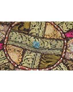 Taburet, Rajasthan, patchwork, Ari bohatá výšivka, čierny podklad, 56x56x33cm