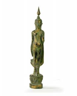 Narodeninový Budha, pondelok, teak, zelená patina, 26cm