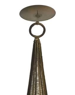 Kovový svietnik, čierno zlatá patina, 16x16x97cm