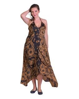 Dlhé šaty, recyklované sárí, hnedej s čiernou potlačou, na ramienka
