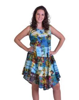 Dlhé šaty, farebné, na široké ramienka, batika