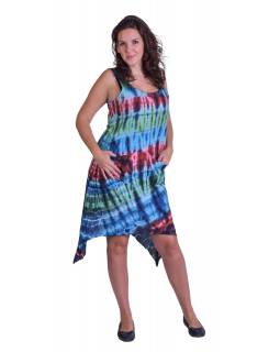 Dlhé šaty, farebné, na široké ramienka, batika, vrecko