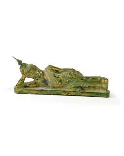 Narodeninový Budha, utorok, teak, zelená patina, 26cm