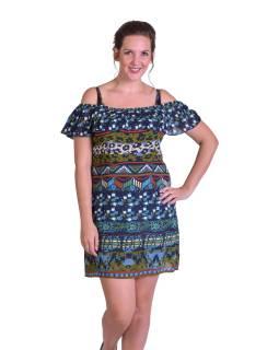 Dlhé letné šaty na ramienka, modrej, potlač, volaný