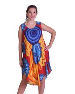 Dlhšie letné šaty na široké ramienka, farebné mandala a kruhy