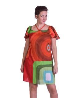 Krátke letné šaty na ramienka, farebný vzor