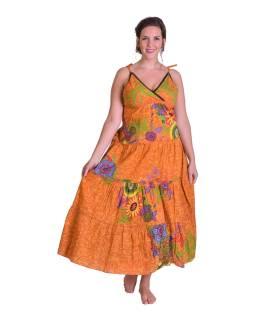 """Dlhé oranžové šaty """"Flower design"""", zaväzovanie za krk"""