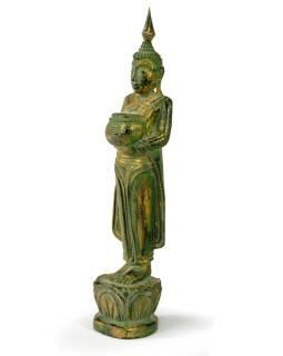 Narodeninový Budha, streda, teak, zelená patina, 26cm