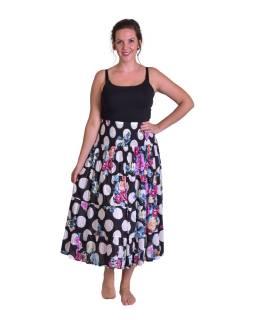 """Dlhá čierna sukňa s potlačou """"Dots & Flower design"""", žabičkování"""