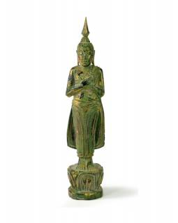 Narodeninový Budha, piatok, teak, zelená patina, 26cm
