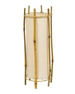 Stojaca lampa / tienidlo z bambusu a látky, 19x19x50cm