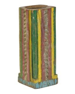 Drevený svietnik zo starého teakového stĺpa, 17x17x49cm
