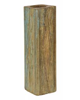 Drevený svietnik zo starého teakového stĺpa, 19x19x69cm