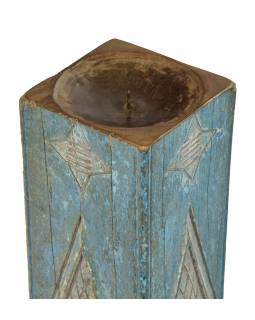 Drevený svietnik zo starého teakového stĺpa, 17x17x63cm