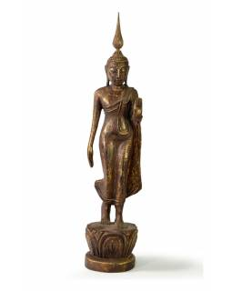 Narodeninový Budha, pondelok, teak, hnedá patina, 35cm