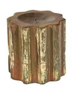 Drevený svietnik zo starého teakového stĺpa, 20x20x20cm
