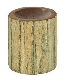 Drevený svietnik zo starého teakového stĺpa, 16x16x19cm