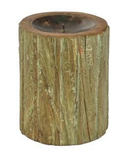 Drevený svietnik zo starého teakového stĺpa, 17x17x22cm
