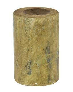 Drevený svietnik zo starého teakového stĺpa, 17x17x25cm