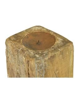 Drevený svietnik zo starého teakového stĺpa, 16x15x25cm