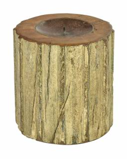 Drevený svietnik zo starého teakového stĺpa, 17x17x19cm