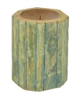 Drevený svietnik zo starého teakového stĺpa, 18x18x22cm