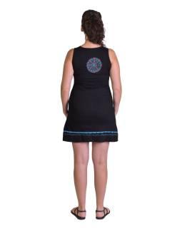 Krátke šaty bez rukávov, čierne s tyrkysovým potlačou a mandaly